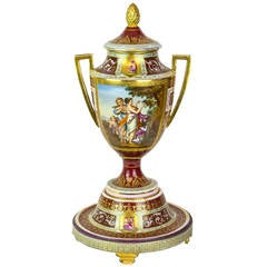 Royal Vienna Neoclassical Painted Covered Porcelain Vase