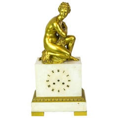 Gilt Bronze and White Marble Neoclassical Figural Mantel Clock