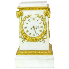 White Marble and Bronze Neoclassical Mantel Clock with Ram's Head