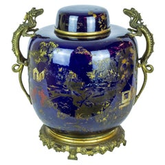 Oriental Porcelain Covered Jar with French Bronze Mounted Dragon Handles