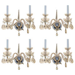 Set of Four Etched Crystal Glass Two-Arm Wall Light Sconces