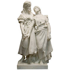 Important Orientalist Marble Figure of Two Lovers Signed P. Carados