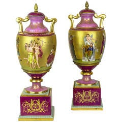 Magnificent Pair of Royal Vienna Neoclassical Painted Porcelain Covered Vases