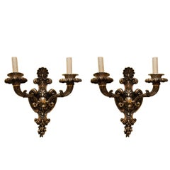 Pair of Silvered Bronze Two-Arm Wall Light Sconces Attributed to Caldwell
