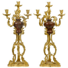 Pair of Louis XV Style Gilt Bronze and Marble Candelabras
