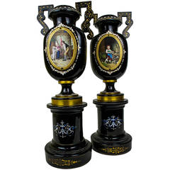 Pair of Bohemian Glass Vases on Stand with Painted Enamel Scene Decorations
