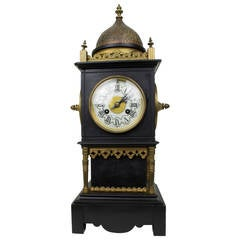 Orientalist Tiffany Bronze and Marble Square Form Mantle Clock
