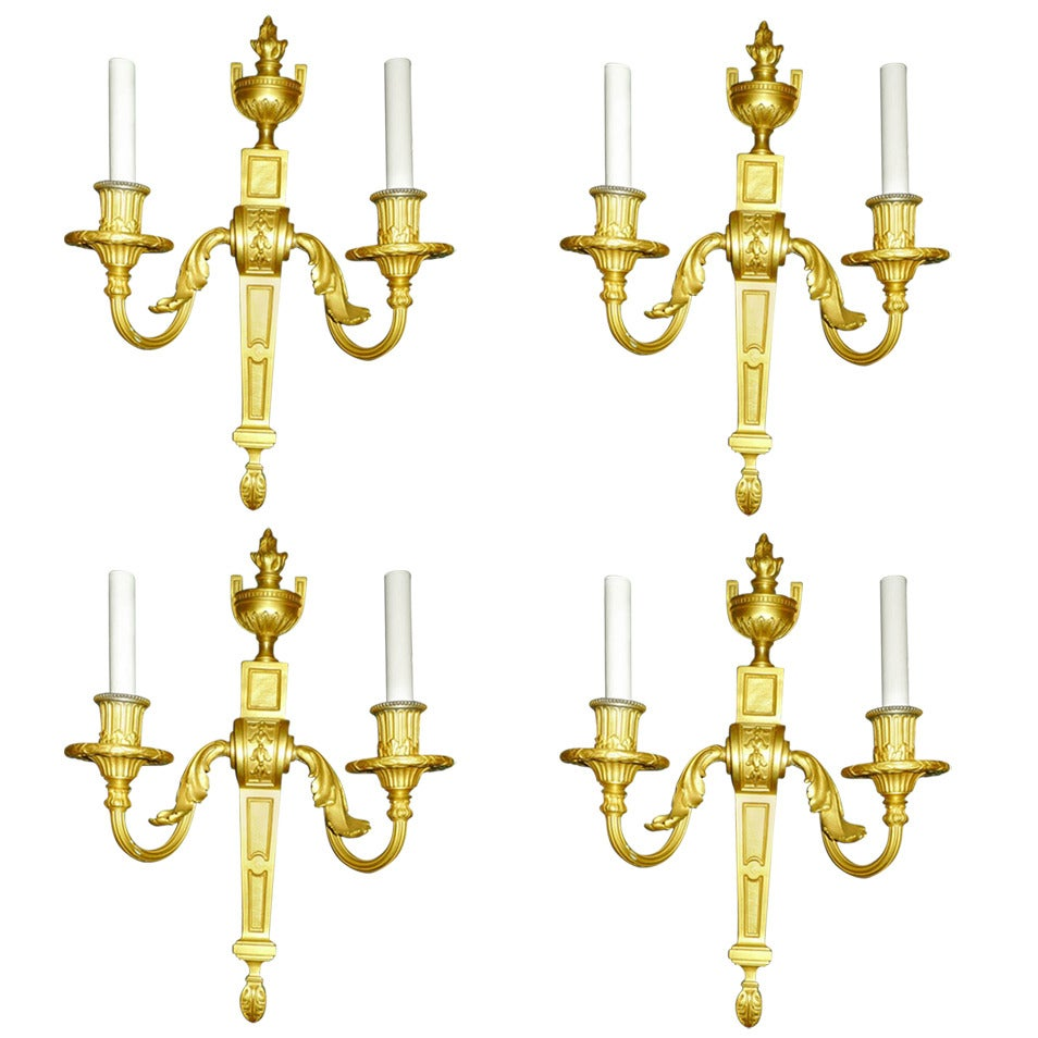 Set of Four Gilt Bronze Two Arm Wall Light Sconces by Caldwell and Co. at 1stdibs