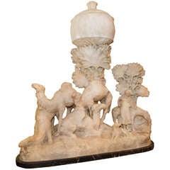 Orientalist Carved Alabaster Group of Camels in Desert