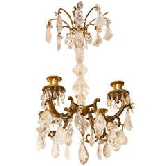 Rock Crystal and Gilt Bronze Four-Light Chandelier