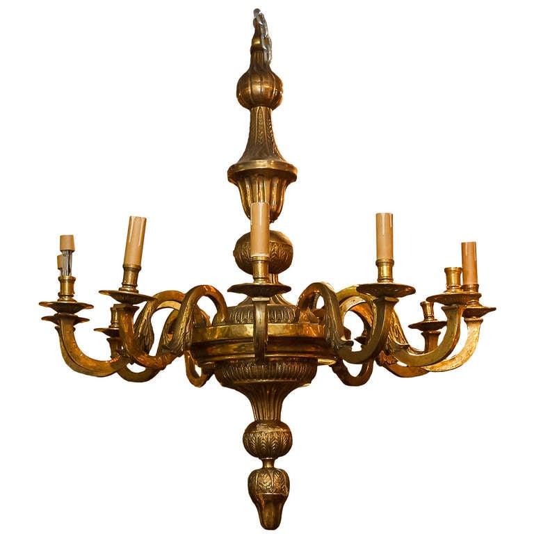 Large Gilt Bronze 12 Light Chandelier