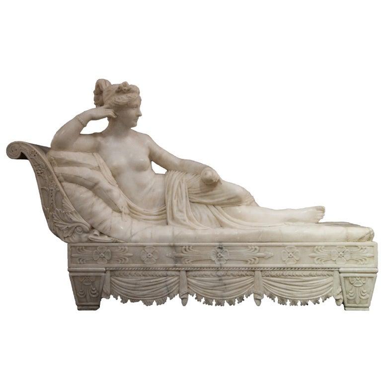 Antique Paolina Borghese Alabaster Sculpture After Antonio