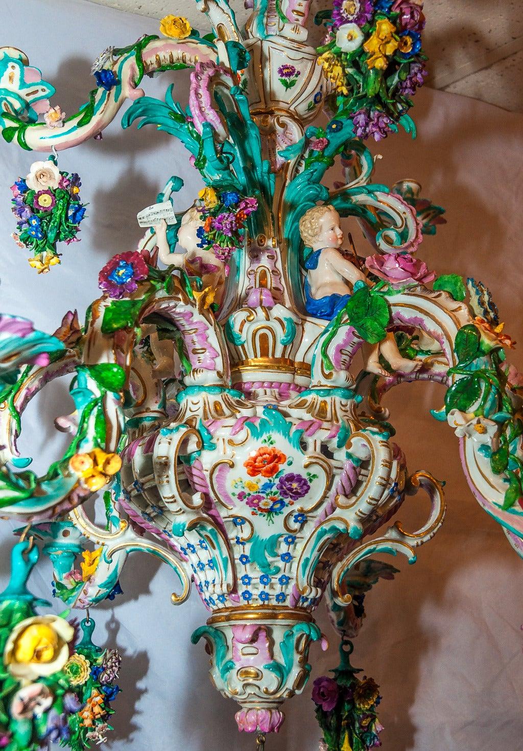 Two tier meissen porcelain chandelier with birds and flower two tier meissen porcelain chandelier with birds and flower decorations 2 arubaitofo Gallery
