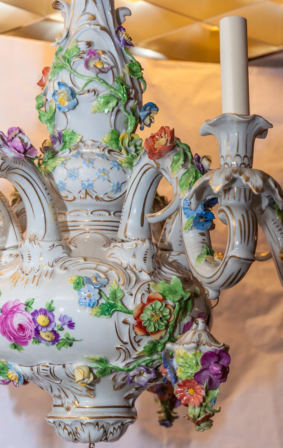 Dresden Porcelain Floral Design Six Light Figural Cherub