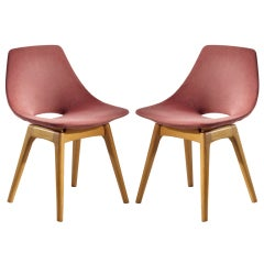Pair of Upholstered Wooden Chairs by Pierre Guariche