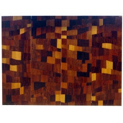 Four 1960s Wood Marquetry Panels by Michel Lefevre