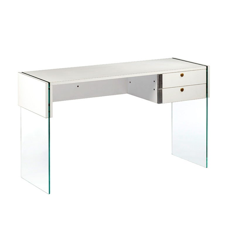 1960s Glass Desk By Rene Jean Caillette At 1stdibs