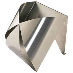 Stainless Steel Magazine Rack by Maria Pergay, 1970