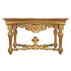 Italian Early 19th Century Louis XIV Style Giltwood Console