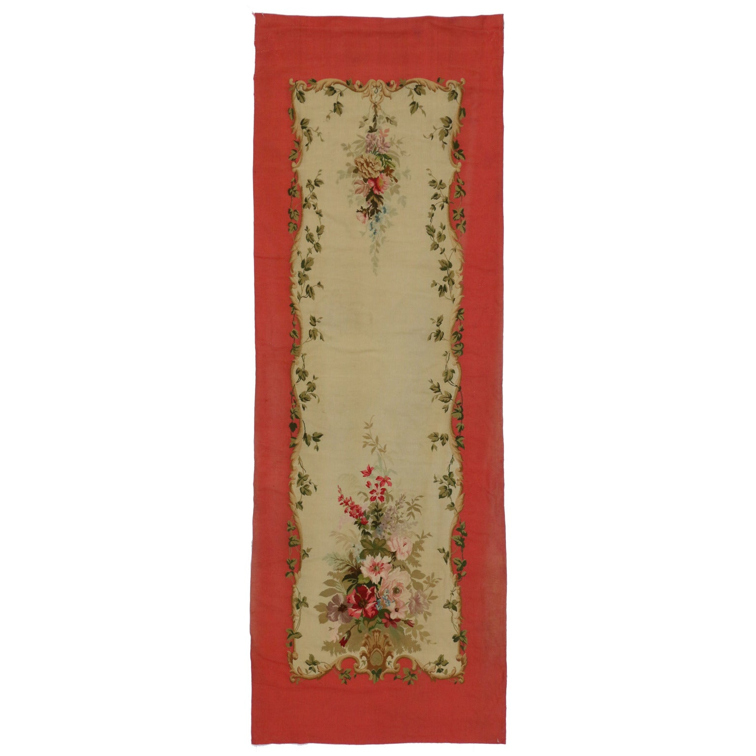 Antique French Aubusson Tapestry with Rococo Style, Savonnerie Wall Hanging