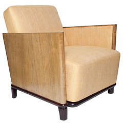 Scandinavian Modern Art Deco Lounge Chair with Elmwood and Mahogany
