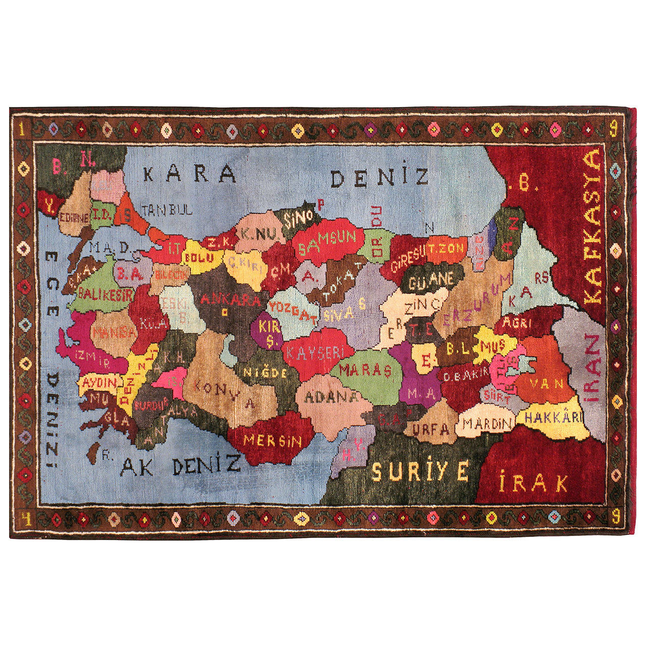 Vintage Turkish Map Rug 1 - Vintage Turkish Map Rug For Sale At 1stdibs