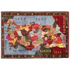 Vintage Turkish Map Rug