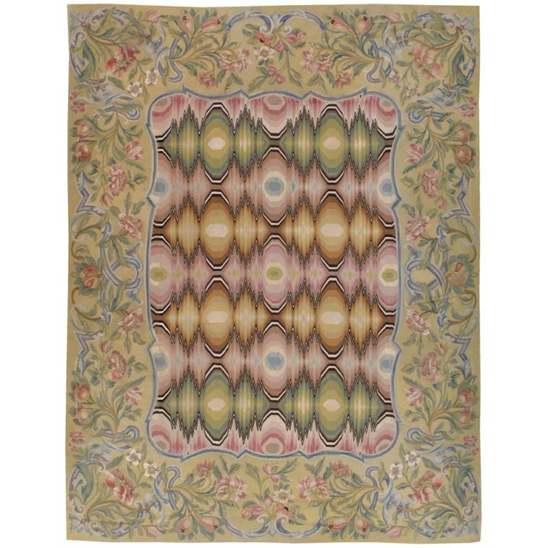 Antique French Aubusson Rug For Sale
