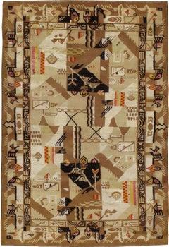 Vintage Indian Art Deco Rug Inspired By Edward McKnight Kauffer