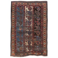 Antique Distressed Caucasian Kazak Rug
