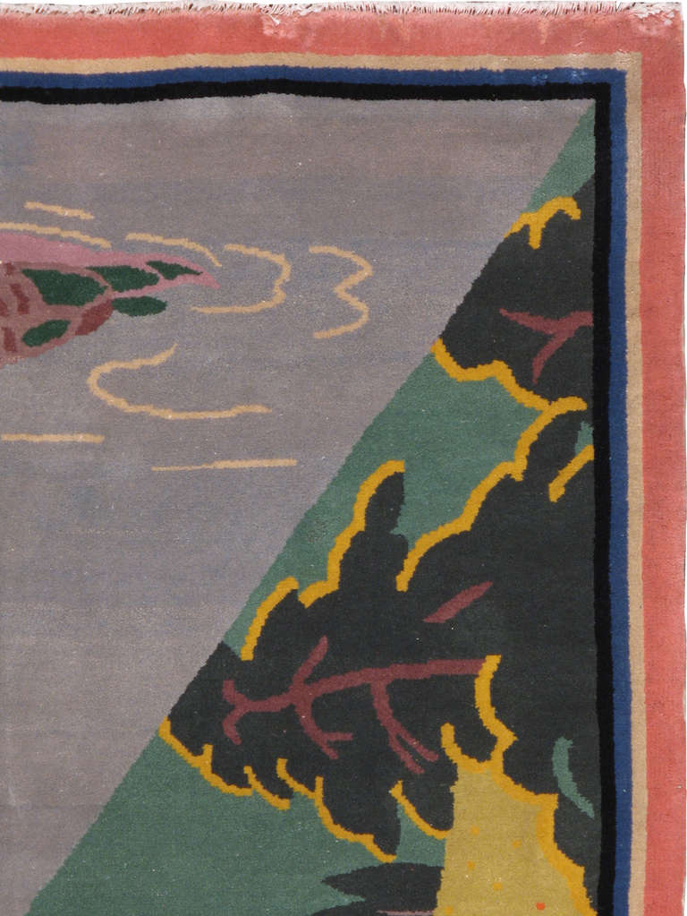 Antique Japanese Deco Art Rug In Good Condition For Sale In New York, NY