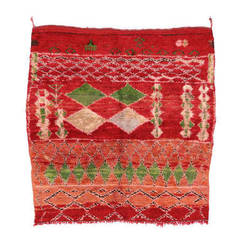 Vintage Berber Red Moroccan Rug with Geometric Design & Boho Chic Style, Square