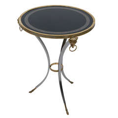 Neoclassical Steel and Bronze Table by Jansen