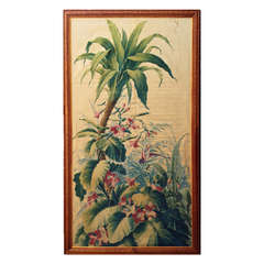A Large 19th Century Colonial Painted Silk and Linen Exotic Panel