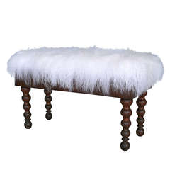 Mongolian Fur Piano Bench