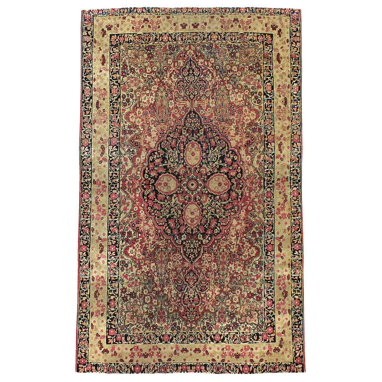 Antique Persian Lavar Kerman Rug For