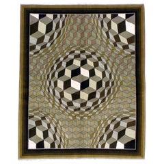 Victor Vasarely Inspired Persian Modernist Tabriz Rug