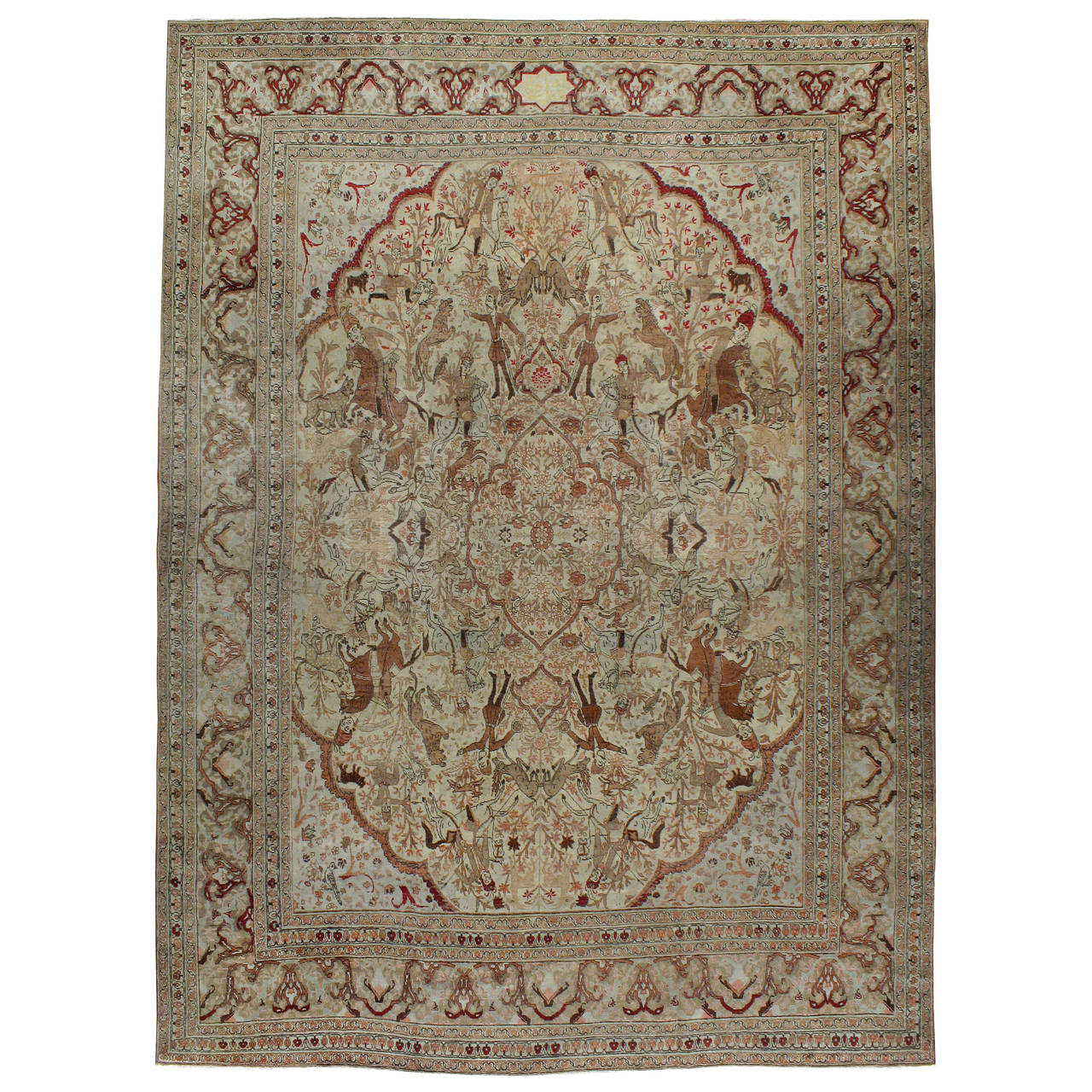 Antique Persian Tabriz Pictorial Rug For Sale