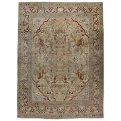 Antique Persian Tabriz Pictorial Rug