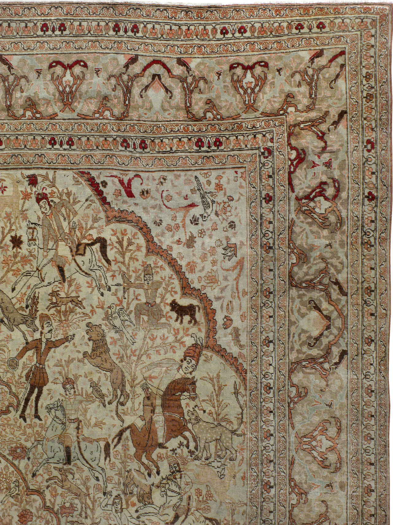 Hand-Woven Antique Persian Tabriz Pictorial Rug For Sale