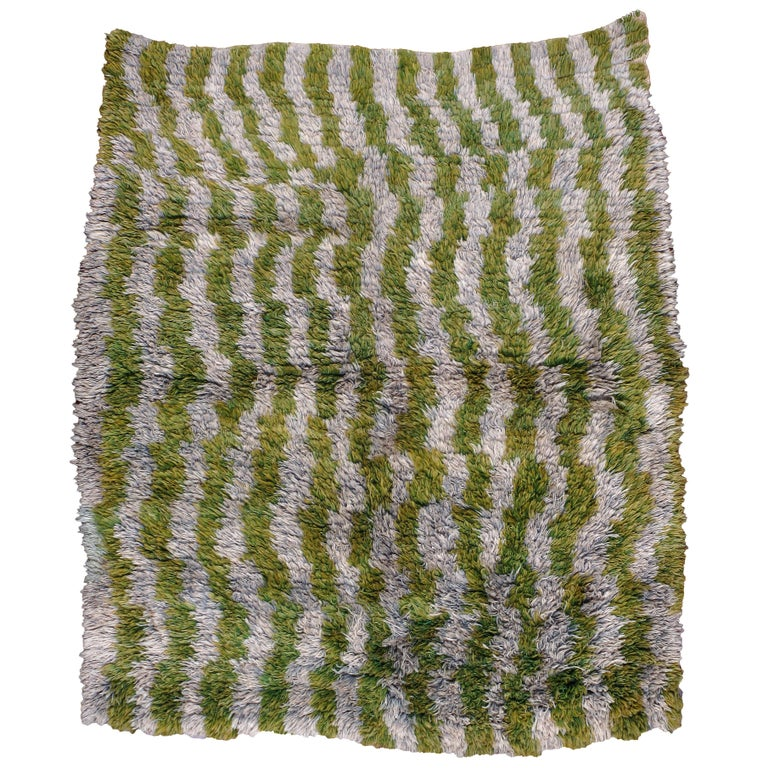 Midcentury Handmade Turkish Folk Shag Rug In Chartreuse Green and Ivory For Sale