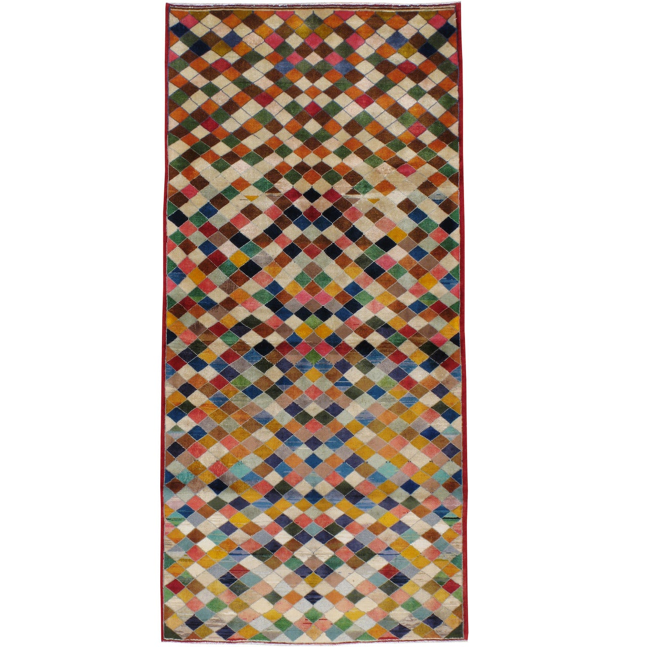 Vintage Persian Kashan Art Deco Rug