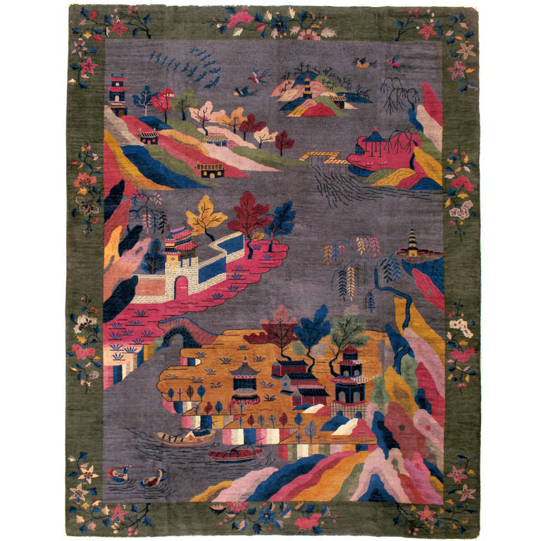 Antique chinese deco rug at 1stdibs for Deco rugs carpet