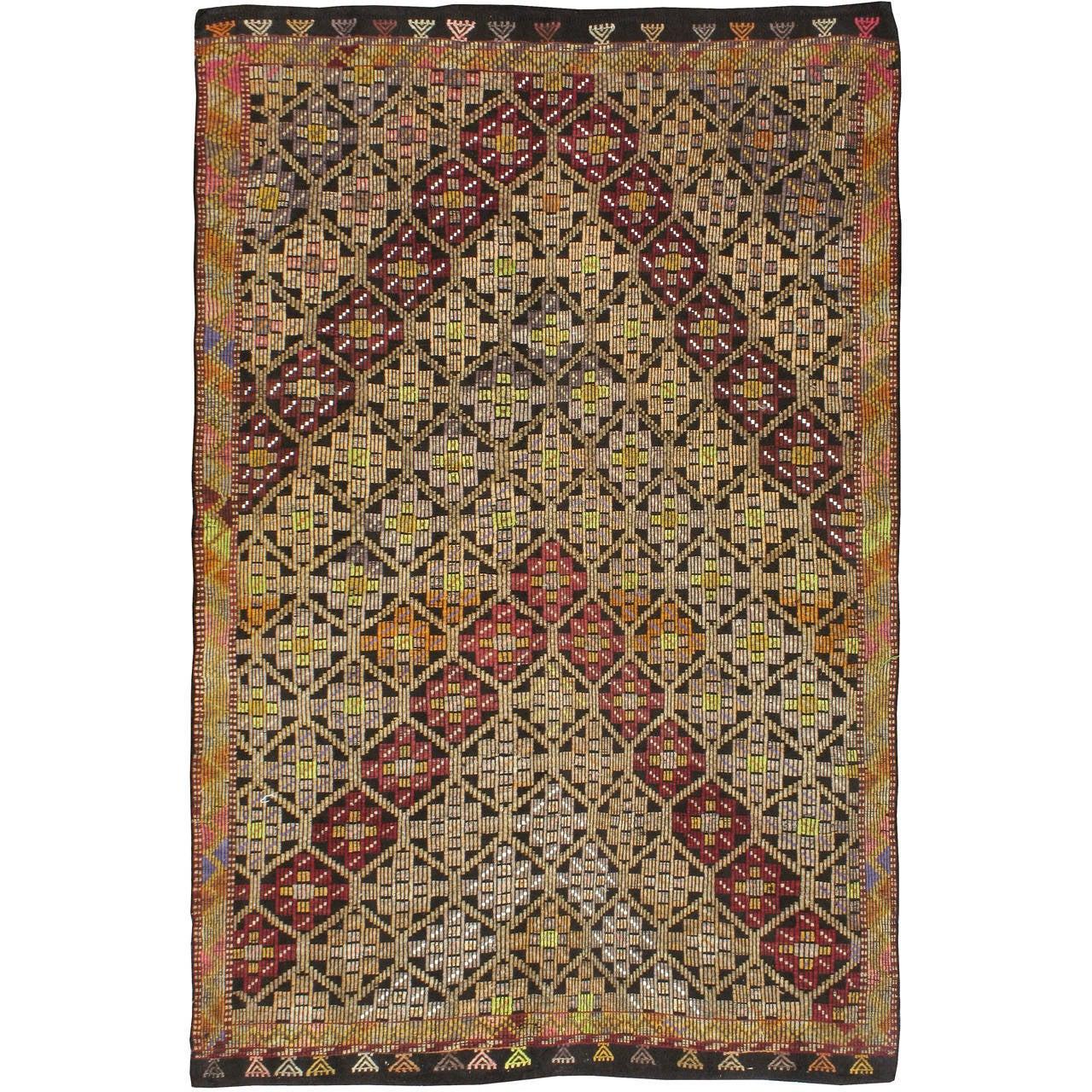 Vintage Turkish Flat Weave Rug: Vintage Turkish Flat-Weave Rug For Sale At 1stdibs