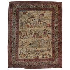 Antique Pictorial Persian Lavar Kerman