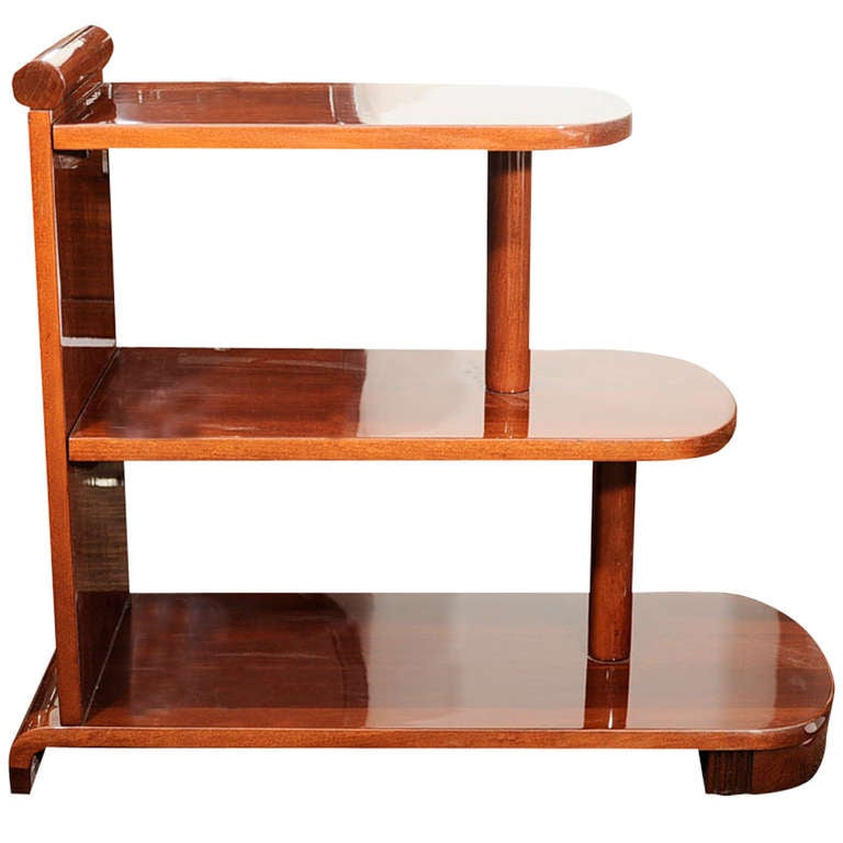 Nice American Art Deco Streamline Three Tiered End Table 1