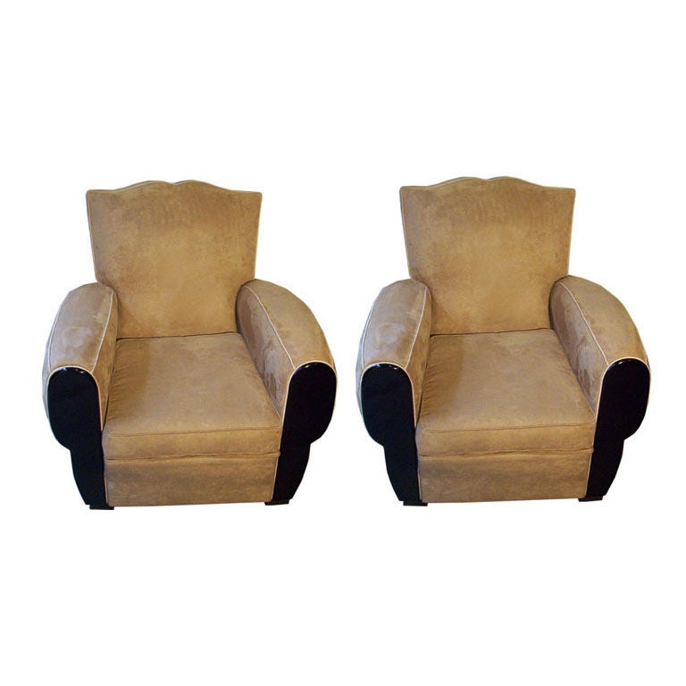 French Art Deco Pair of Club Chairs For Sale