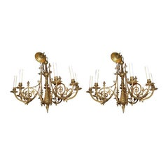Pair of Brass Chandeliers by Thomas Gruenberg