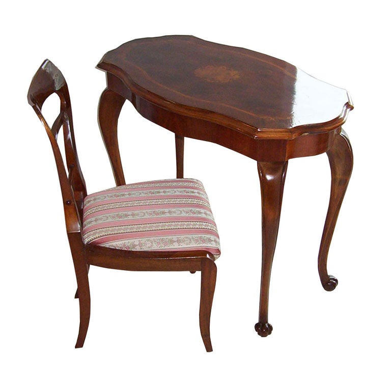 Biedermeier Table and Chair For Sale