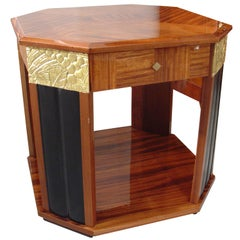 French Art Deco End Table in Walnut